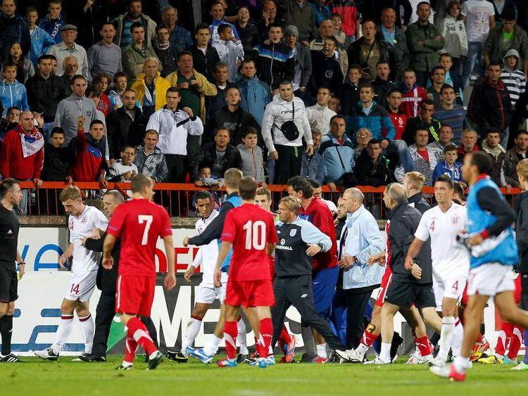 England Serbia U21s Racism Scuffle