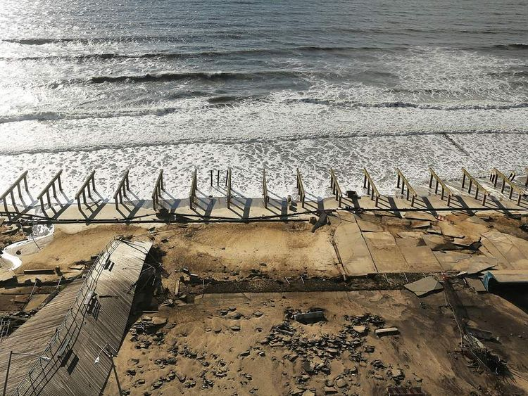 The foundations to the historic Rockaway boardwalk are all that remain after it was washed away during Hurricane Sandy