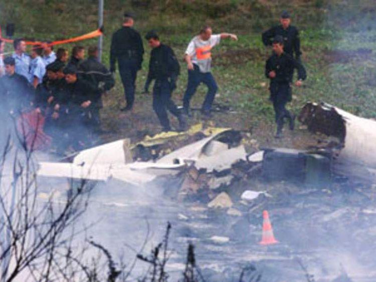 Debris from Concorde crash in Paris in June 2000