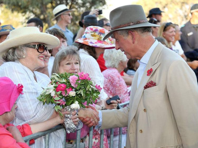 Prince Charles talks with locals in Longreach, Australia