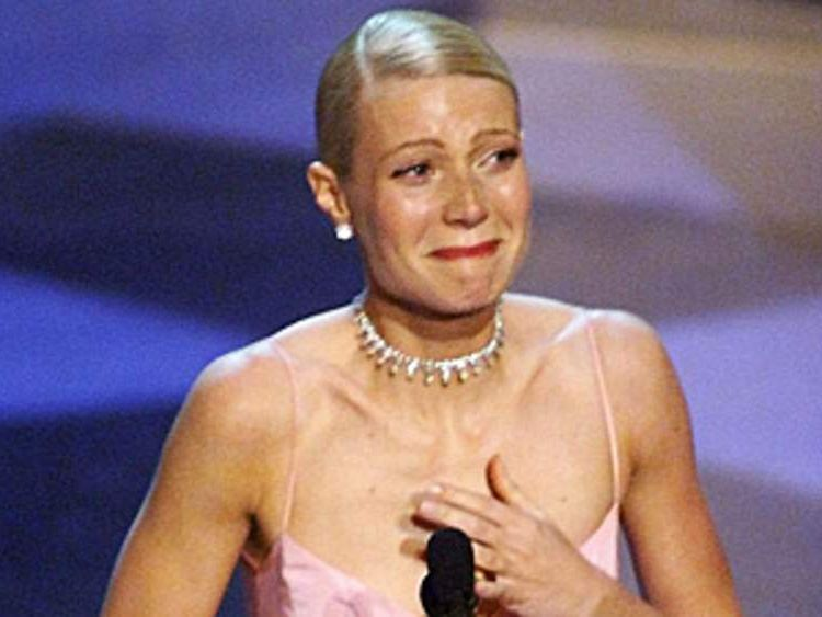 Gwyenth Paltrow cries as she receives the Oscar for Best Actress for her role in Shakespeare in Love in h 1999