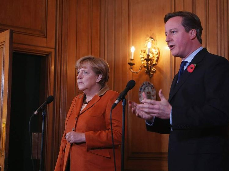 David Cameron and Angela Merkel in Downing Street