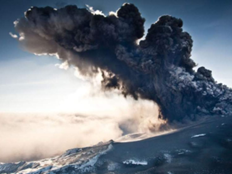 Ground view of the volcano erupting