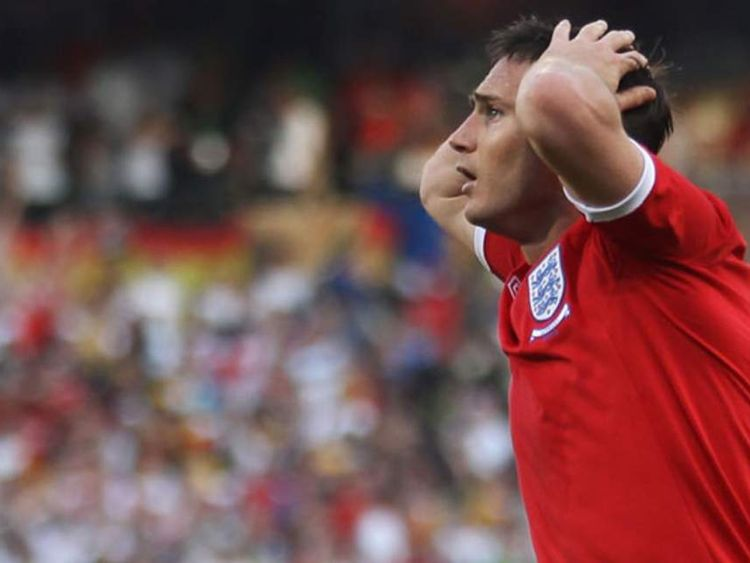 England's Frank Lampard reacts after his goal was disallowed