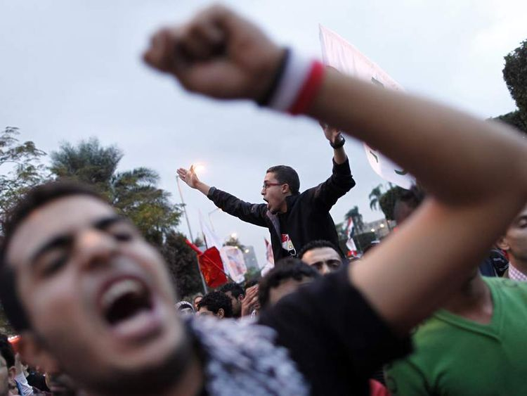 Egyptians demonstrators protest in Cairo