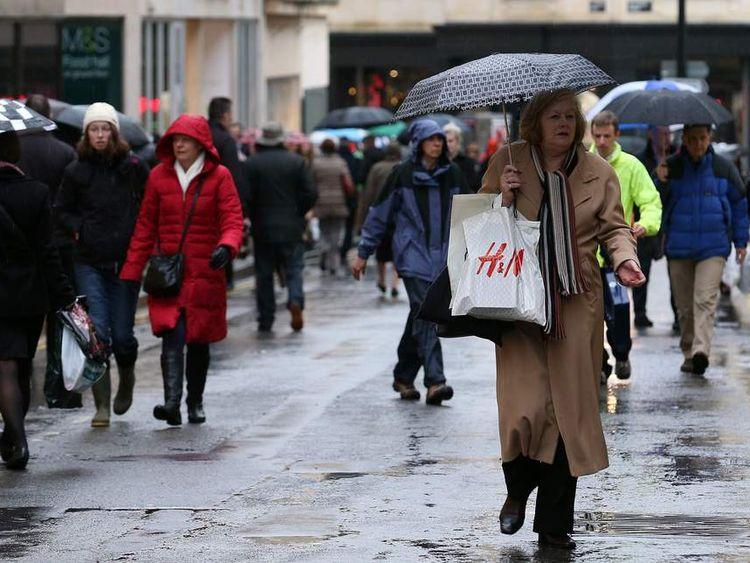Rainy weather in Britain