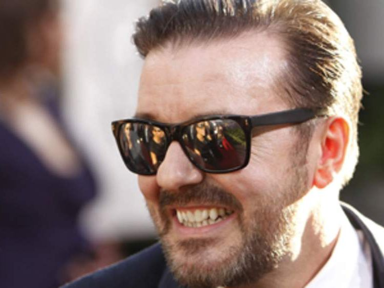 Ricky Gervais arrives at Golden Globes
