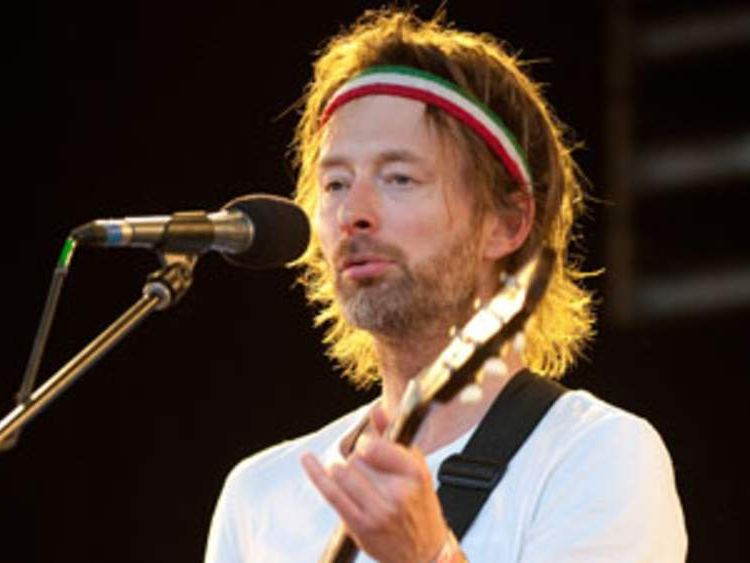 Thom Yorke of British band Radiohead performs as a special surprise performer on The Park stage at the Glastonbury festival near Pilton, Somerset on June 25, 2010.