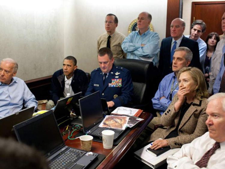 Obama and Clinton join others in the operation room as Osama Bin Laden is killed