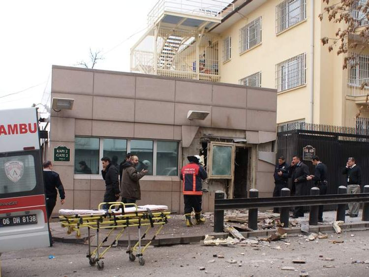 The aftermath of an explosion at the US embassy in Ankara