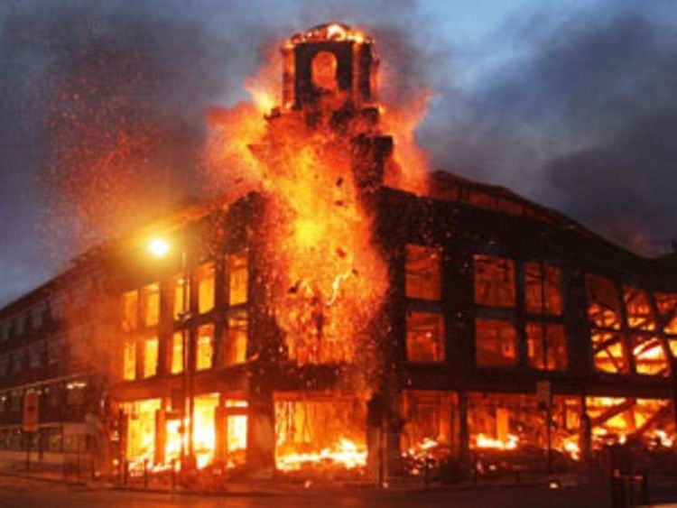 Tottenham carpet showroom ablaze in riots on Saturday, August 6, 2011.