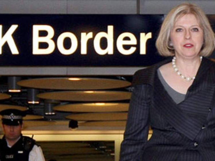 Theresa May inspects UK Border Agency facilities at Heathrow airport's Terminal 5 in 2010