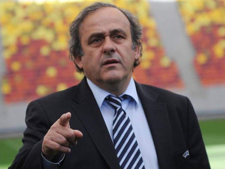 Uefa president Michel Platini visits a football stadium in Bucharest, Romania