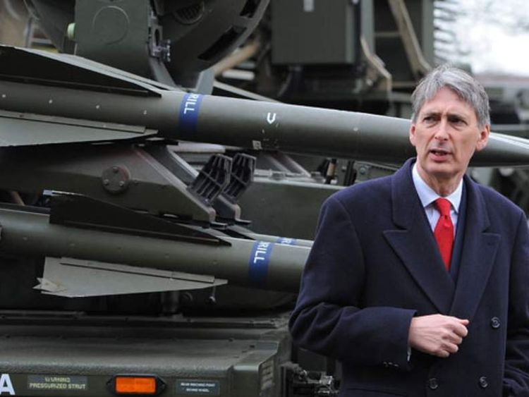 Philip Hammond with a Rapier System ground-to-air missile launcher
