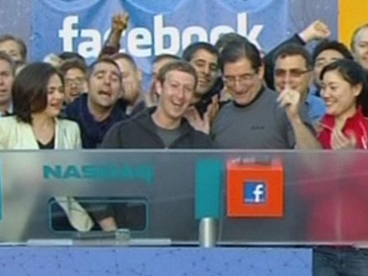 Facebook founder Mark Zuckerberg remotely rings bell to open trade on Nasdaq