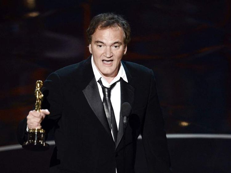 "Writer/director Quentin Tarantino accepts the Best Writing - Original Screenplay award for ""Django Unchained"""