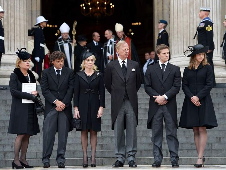 Margaret Thatcher's family after her funeral