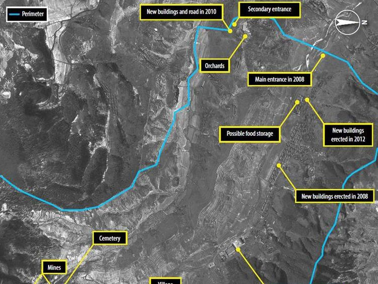 A satellite image of North Korea's Ch'oma-Bong valley