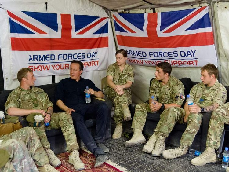 David Cameron with troops at Camp Bastion