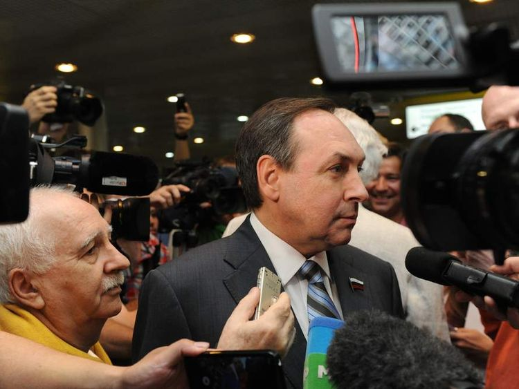 Politician Vyacheslav Nikonov speaks with journalists before the meeting with Edward Snowden.