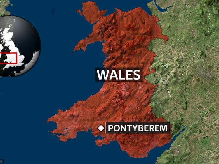 A map showing the location of Pontyberem in Wales