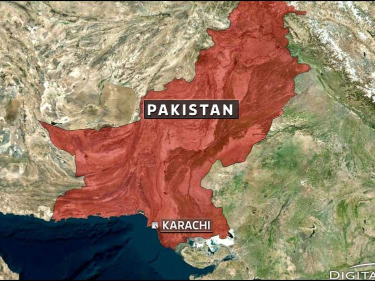 Map of Pakistan showing Karachi