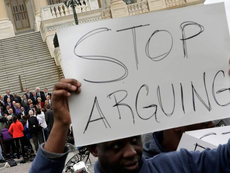 Demonstrators at the US Capitol call for an end to the impasse