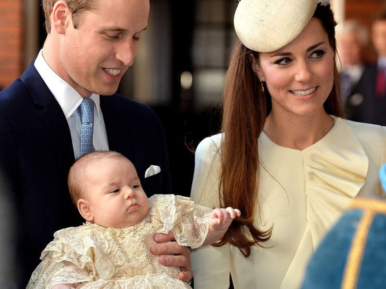 The Duke and Duchess of Cambridge with their song Prince George