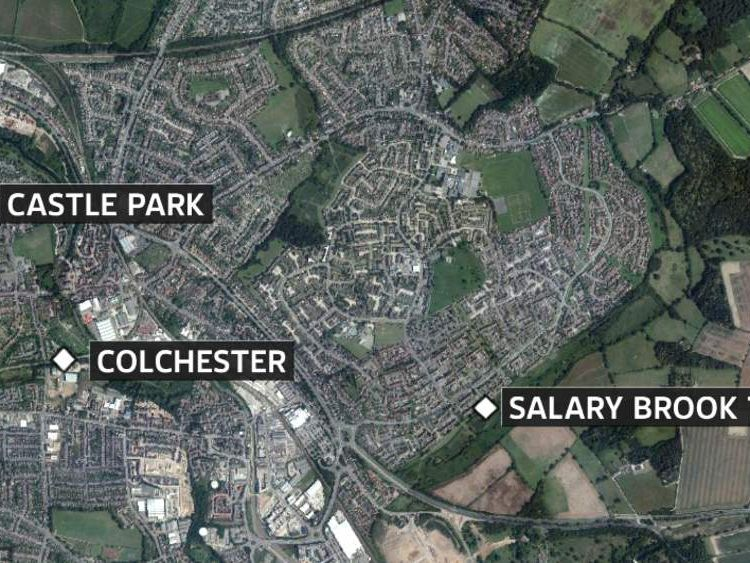 A map showing the locations of two murders in Colchester.