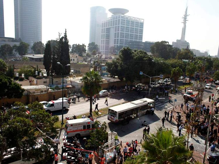Israeli police survey the scene