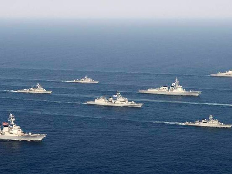 Navy vessels of South Korea and the United States attend a joint military drill on the East Sea