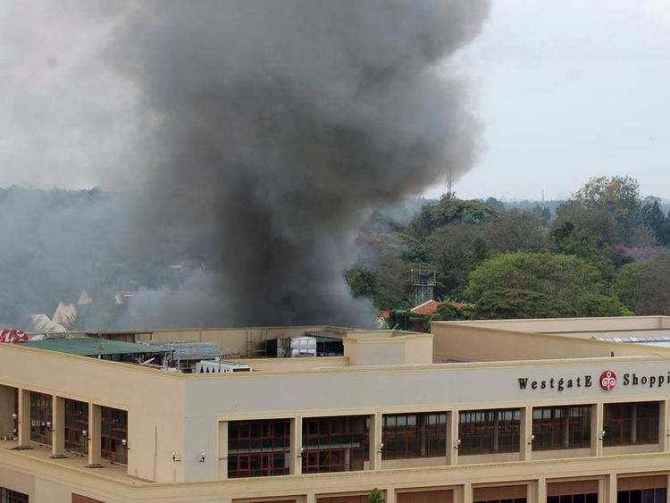 Smoke rises from the Westgate shopping centre in Nairobi following a string of explosions during the third day of a stand-off between Kenyan security forces and gunmen inside the building