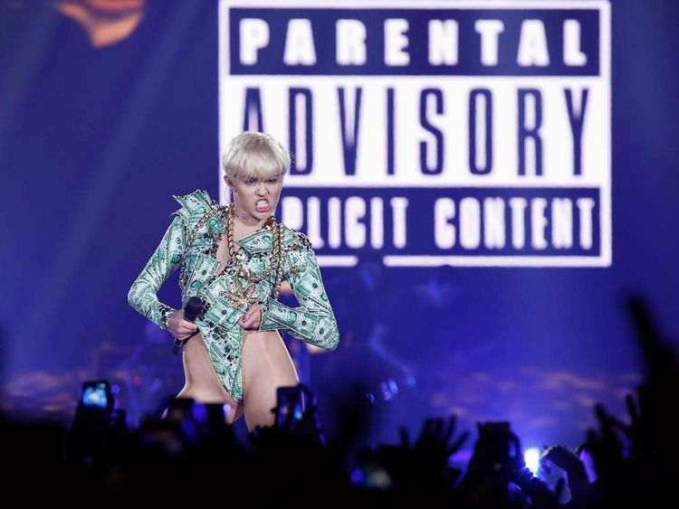 U.S. singer Miley Cyrus performs at the O2 Arena in central London