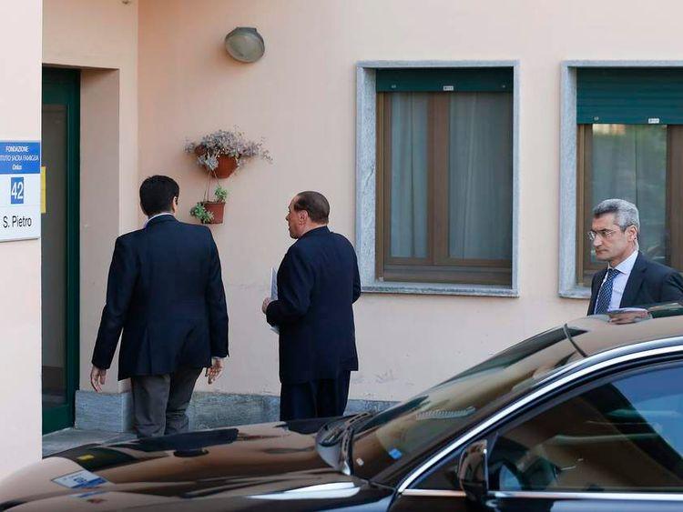 Former Italian PM Berlusconi enters the Sacred Family Foundation in Cesano Boscone