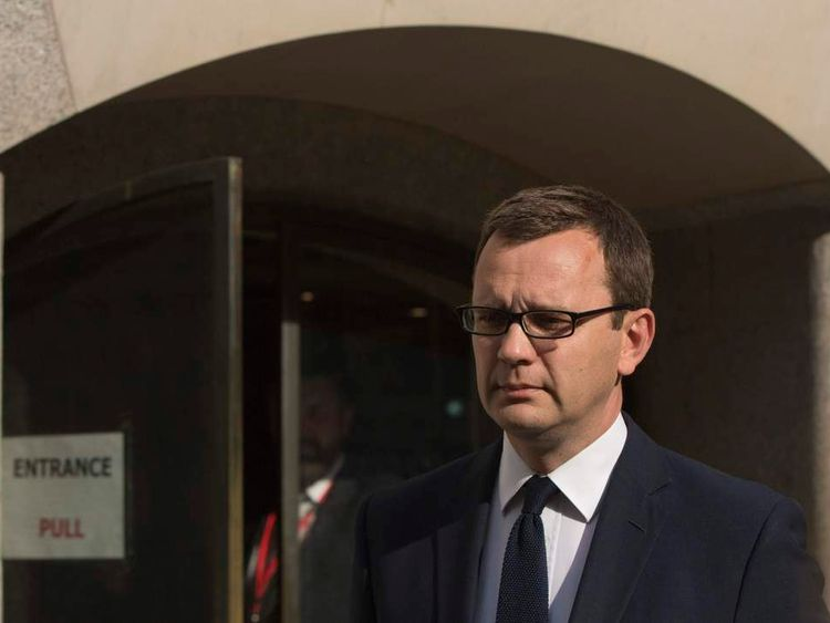 Former editor of the News of the World Andy Coulson leaves the Old Bailey courthouse in London.