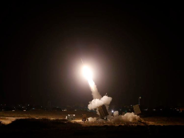 An Iron Dome launcher fires an interceptor rocket in Ashdod