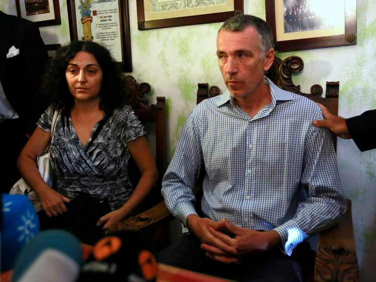 Naghemeh and Brett King, parents of Ashya King, attend a news conference in the Andalusian capital of Seville