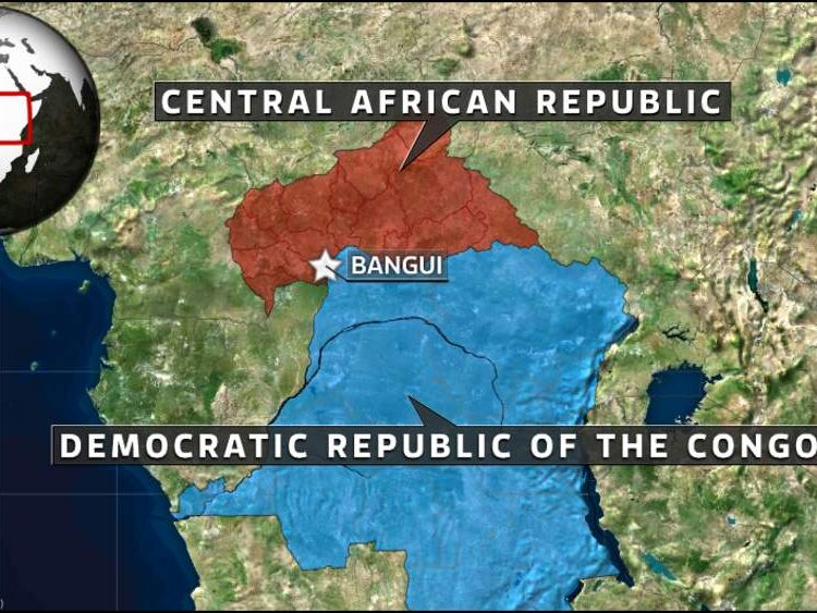 A map showing the location of the Central African Republic
