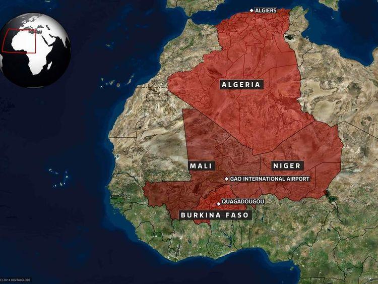 Map of Burkina Faso, Ouagadougou, and Algiers, Algeria, with Gao airport