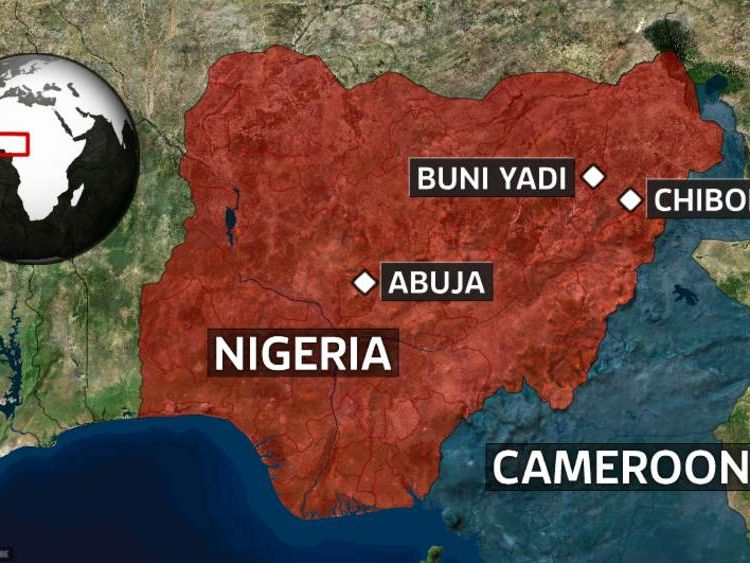 A map showing some of the locations of Boko Haram attacks