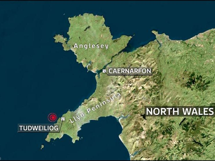 A maps of the North Wales earthquake showing the epicentre