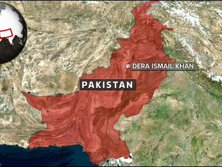 A map showing the location of Dera Ismail Khan, Pakistan