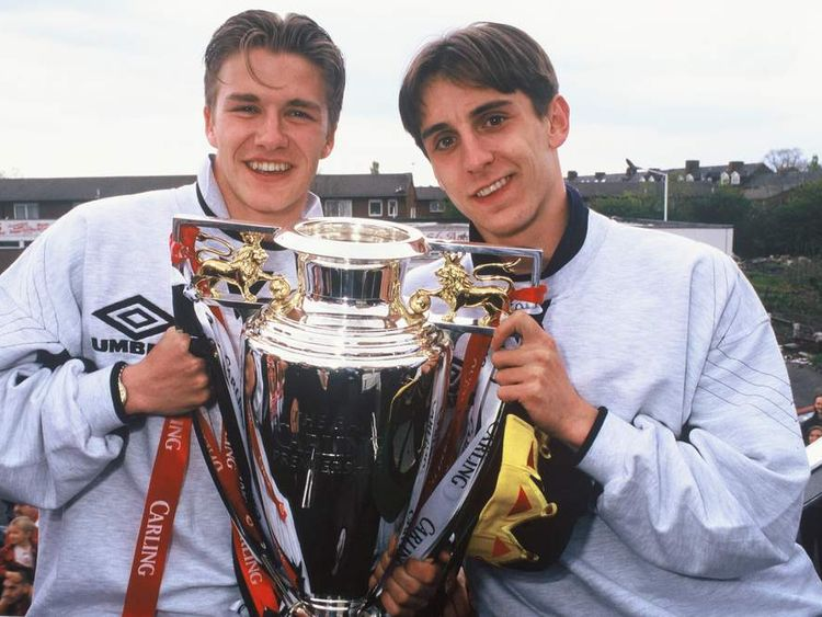 David Beckham and Gary Neville in 1996