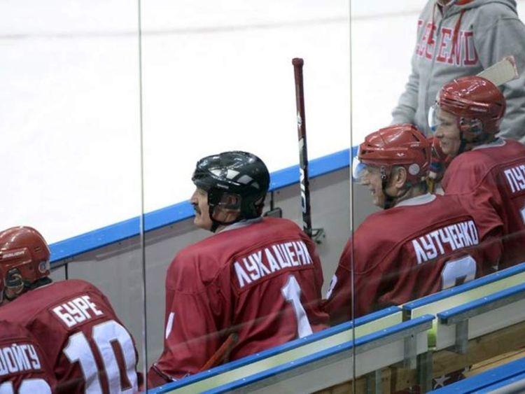 Russian president Vladimir Putin in ice hockey game at Sochi