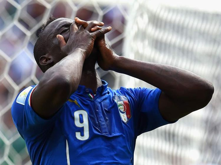Italy's Mario Balotelli rues a missed chance