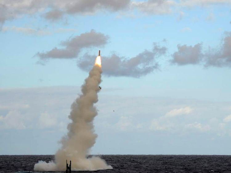Royal  Navy Submarine HMS Astute Fires a Tomahawk Cruise Missile (TLAM) During Testing Near the USA