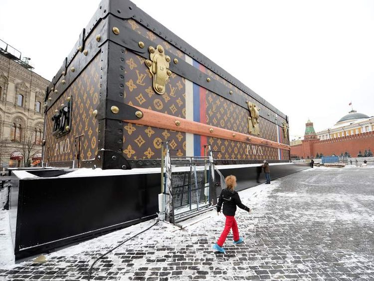 A giant Louis Vuitton trunk rises on Red Square in Moscow was ordered to be taken down