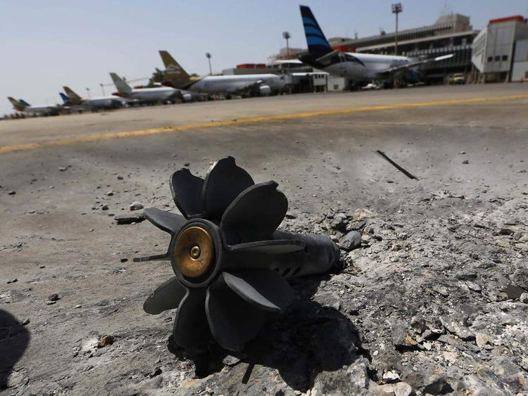 Remains of explosive device at Tripoli International Airport