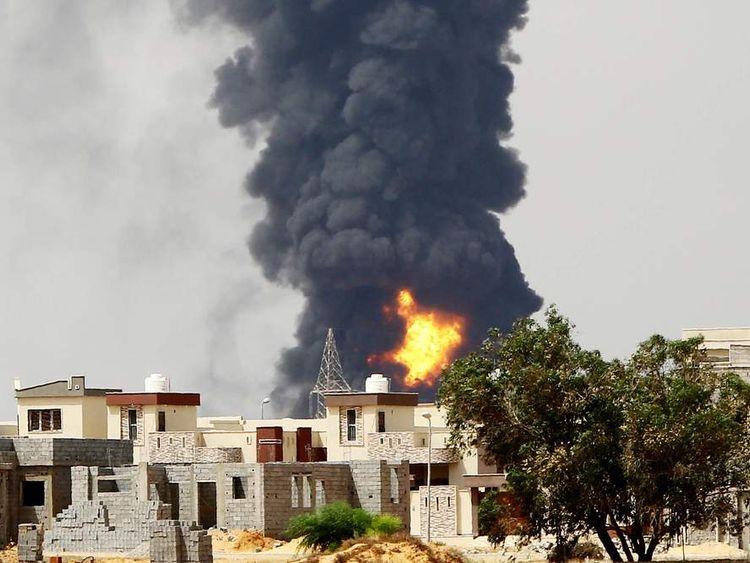 Fire at oil depot in Tripoli, Libya