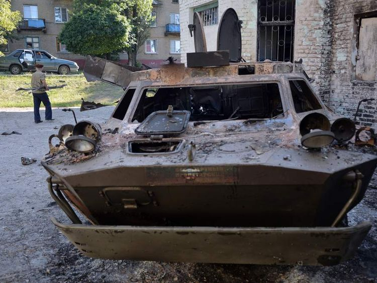 Violence in the eastern Ukrainian city of Lisichansk, Lugansk region